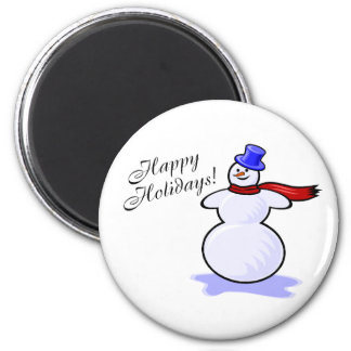 Happy Holidays (Snowman) 6 Cm Round Magnet