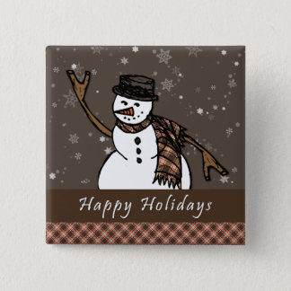Happy Holidays Snowman (Brown Version) 15 Cm Square Badge