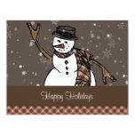 Happy Holidays Snowman (Brown Version) 11 Cm X 14 Cm Invitation Card
