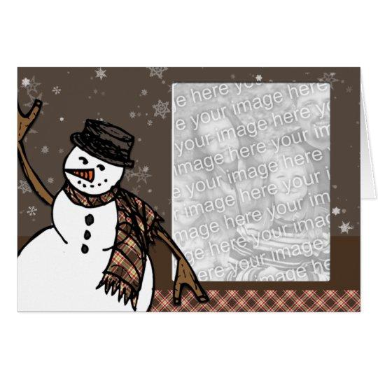 Happy Holidays Snowman (Brown Version) Photo Card