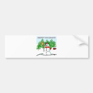 Happy Holidays - Snowman Bumper Sticker