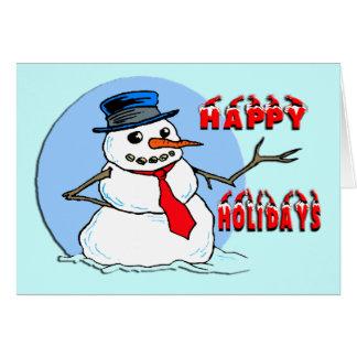 Happy Holidays Snowman Greeting Card