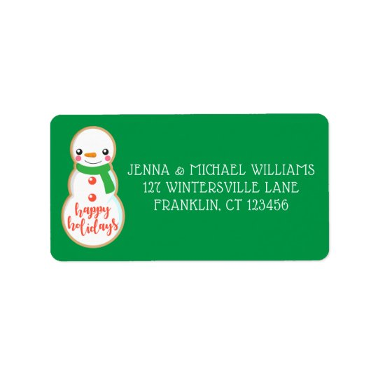 Happy Holidays | Snowman Christmas Cookie Label