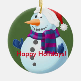Happy holidays snowman. christmas ornament