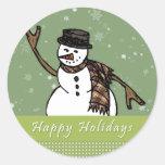 Happy Holidays Snowman Round Stickers