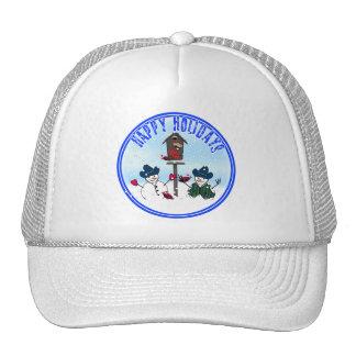 Happy Holidays - Snowmen with Cowboy Hats Trucker Hats