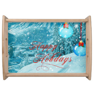 Happy Holidays Snowy Mountain Winter Village Serving Trays