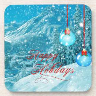 Happy Holidays Snowy Winter Village Drink Coaster