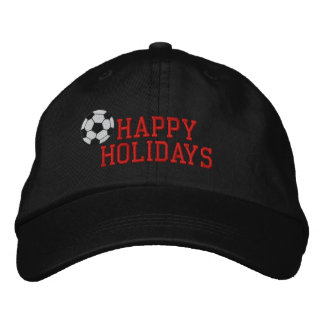 Happy Holidays Soccer Embroidered Hat