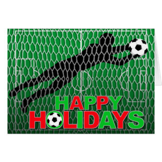 Happy Holidays Soccer Field Goal Note Card