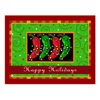 Happy Holidays Southwest Chiles Postcard