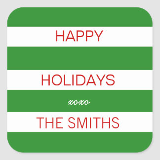 Happy Holidays Sticker (Green and White)