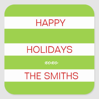 Happy Holidays Sticker (Lime green and White)