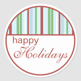 Happy Holidays Striped Christmas Stickers
