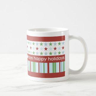 Happy Holidays Stripes and Stars Mug
