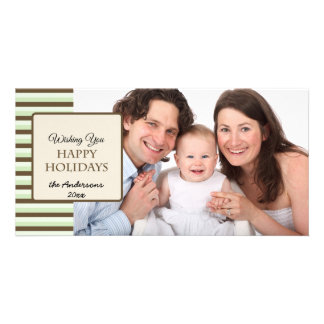 Happy Holidays Stripes Mint Green Brown Photo Card
