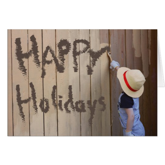 Happy Holidays Sunhat Boy Painting Fence Card