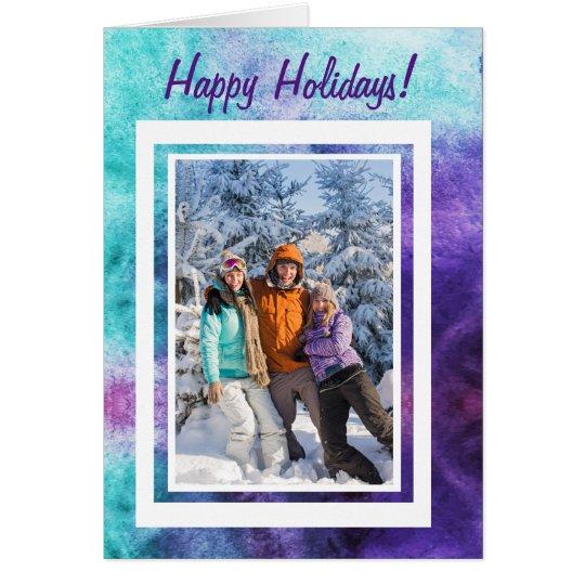 Happy Holidays! Teal & Purple Custom Text 3 Photos Card