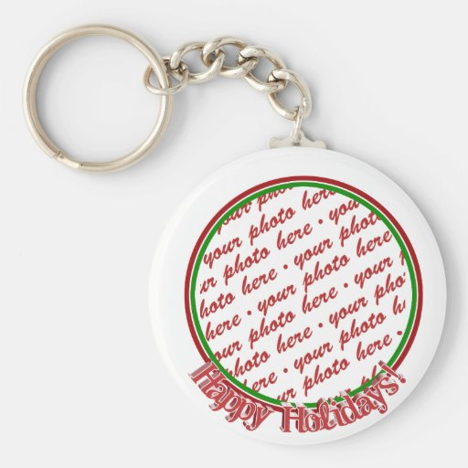 Happy Holidays Text Design Photo Frame Key Chains