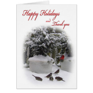 Happy Holidays Thank you with Cardinal Greeting Card
