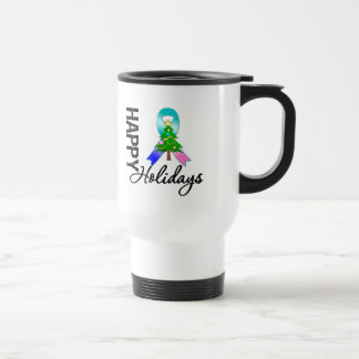 Happy Holidays Thyroid Cancer Awareness Coffee Mugs