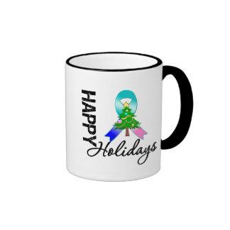 Happy Holidays Thyroid Cancer Awareness Coffee Mugs