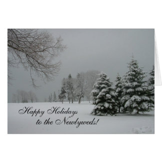 Happy Holidays to the Newlyweds!-Winter Landscape Greeting Card