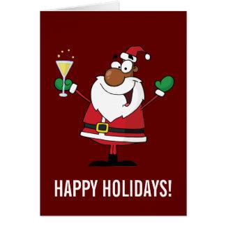 Happy Holidays Toast from Black Santa Greeting Card