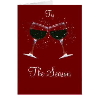 Happy Holidays Toasting Wine Glasses in Snow Greeting Card