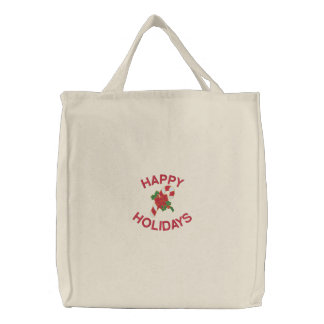 Happy Holidays Tote Bag with Candy Cane