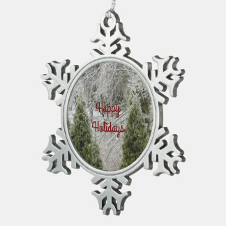 Happy Holidays Tranquil Icy Branches Pewter Snowflake Decoration
