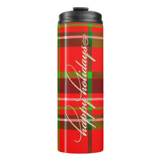 Happy Holidays Typography on Red/Green Tartan Thermal Tumbler
