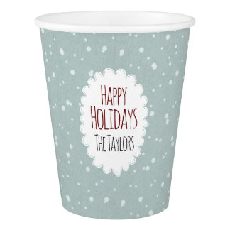 Happy Holidays Vintage Blue custom family name Paper Cup