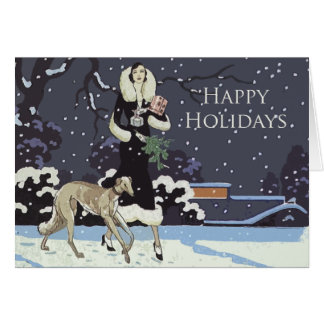 Happy Holidays Vintage Borzoi Card