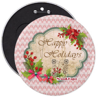 Happy Holidays Vintage button with funny videos