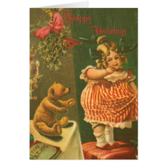 Happy Holidays Vintage Girl and Bear Card