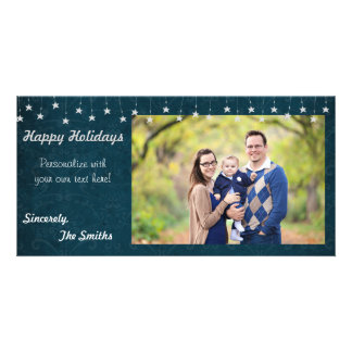 Happy Holidays Vintage Star Lights Blue 8x4 Photo Cards