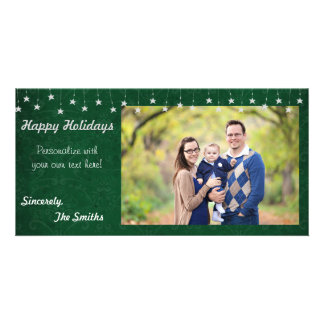Happy Holidays Vintage Star Lights Green 8x4 Personalised Photo Card