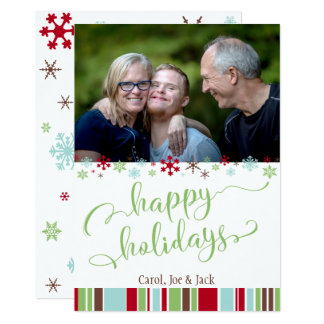 Happy Holidays w/ Snowflakes,  Stripes & Photo Card
