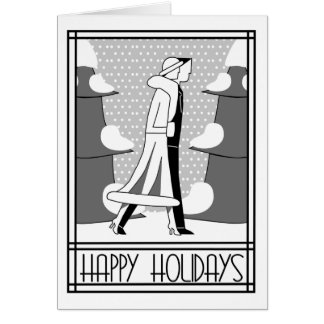 """Happy Holidays"" walk in the snow Card"