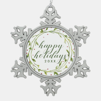 Happy Holidays | Watercolor Christmas Wreath Snowflake Pewter Christmas Ornament