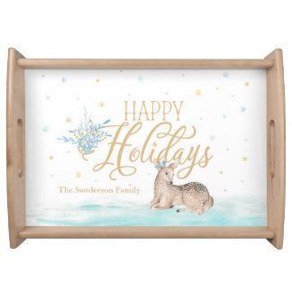 """""""Happy Holidays"""" Watercolor Deer Personalized Serving Tray"""