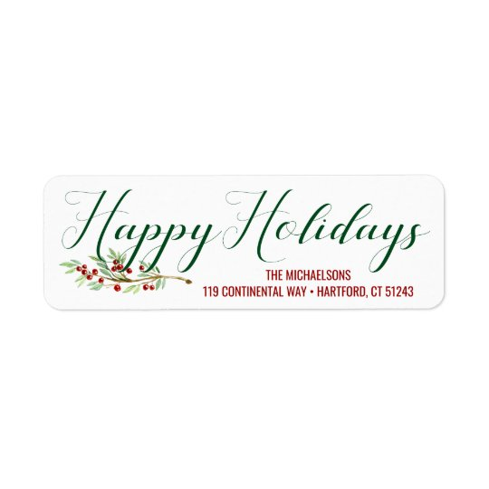 Happy Holidays | Watercolor Holiday Greens Return Address Label