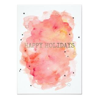Happy Holidays Watercolor Star Card 11 Cm X 16 Cm Invitation Card