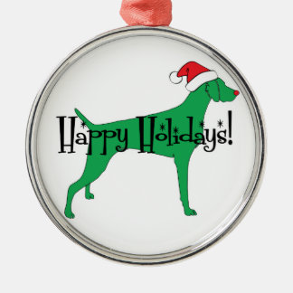 Happy Holidays Weimaraner Christmas Ornament
