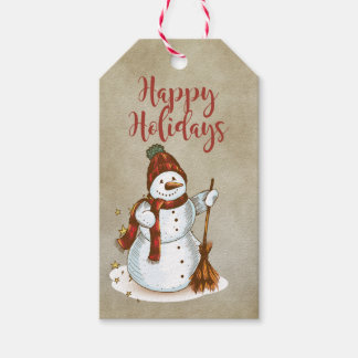 Happy Holidays Whimsical Snowman Gift Tags