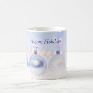 Happy Holidays White and Blue Mug