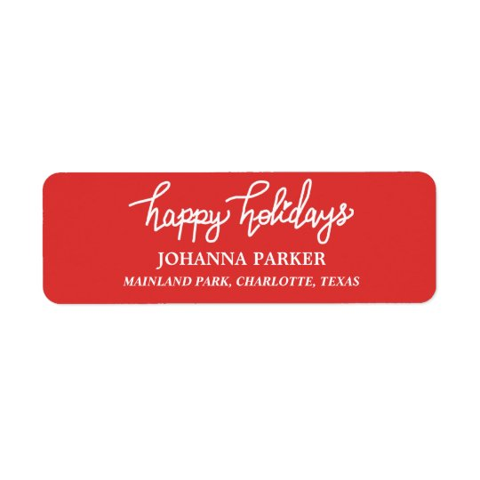 Happy Holidays White Handwritten Typography Red