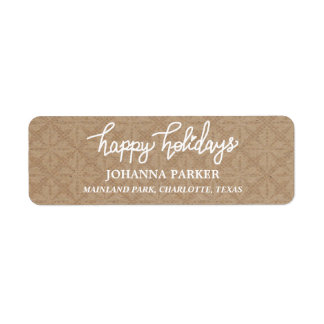 Happy Holidays White Handwritten Typography Return Address Label