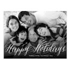 Happy Holidays White Script Holiday Photo Postcard